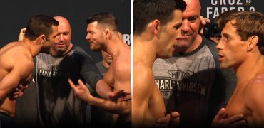 UFC 199: Rockhold, Bisping, Cruz + Faber Weigh-In + Stare Each Other Down. The Bad Blood Is Real!