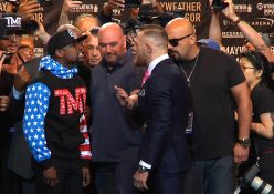 Floyd Mayweather (49-0) vs UFC Lightweight Champion Conor McGregor: 1st Face-Off! #MayMacWorldTour