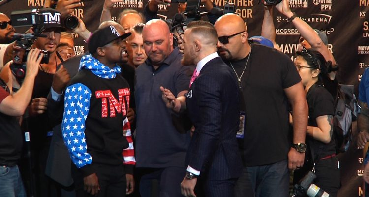 Floyd Mayweather (49-0) vs UFC Lightweight Champion Conor McGregor: 1st Face-Off! #MayMacWorldTour