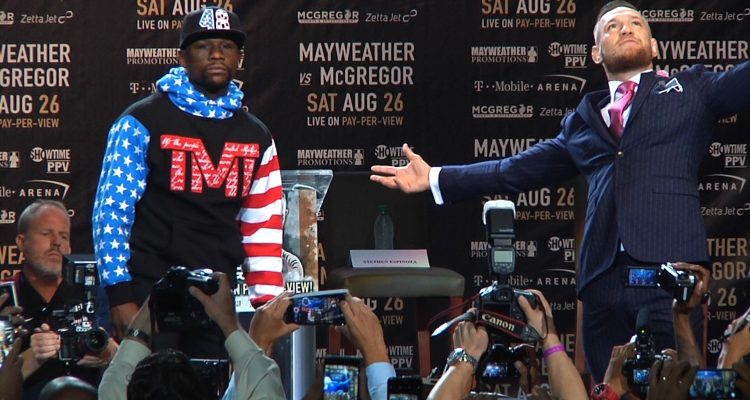 Floyd Mayweather + Conor McGregor Talk Smack + Get Fans Hyped Up At Staples Center (FULL 40min / HD)